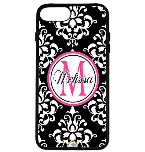 Pink Monogram Iphone (iPhone 8 Plus Case, iPhone 7 Plus Case, ArtsyCase Black Pink Damask Monogram Personalized Name Phone Case - iPhone 7 Plus and iPhone 8 Plus (Black))