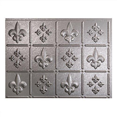 Fasade Easy Installation Fleur de Lis Galvanized Steel Backsplash Panel for Kitchen and Bathrooms (18