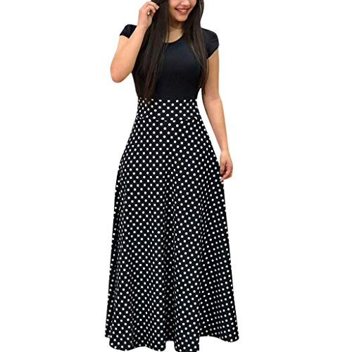Women Dress, Women Casual Dresses Womens Fashion Casual Floral Printed Maxi Dress Short Sleeve Party Long Dress ()