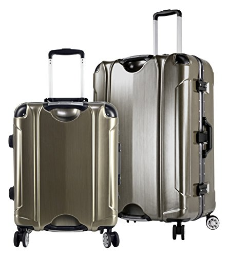 Travelers Club Bottom - Travelers Club Luggage Luna 2-Piece Abs+Pc Aluminum Frame Luggage Set with Double Spinner, Gold, Brushed Gold