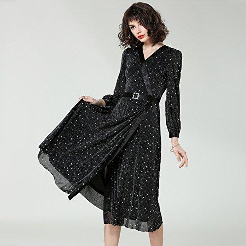 Columpio Vestido black De V Collar ZHUDJ Larga Manga Vestido Grande Gran Slim 4Rxnw18