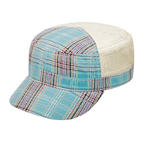 Women's Sky Blue Plaid Cadet Cap w/Mesh Back