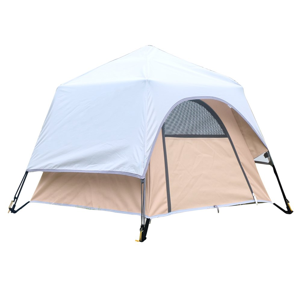 Yolafe Portable Pet Tent, Outdoor Pet Kennel with Innovative Instant Setup Centre Hub Design, Ideal for Camping with Cats and Dogs, Included Black Carry Bag and 2 (Brown)