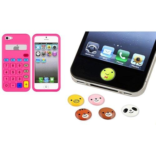 Für IPHONE 5 5 Pink 3D Muster Silikon Case+6 Stück Tier Haus Button Aufkleber