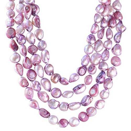 Violet Freshwater Cultured Pearl - 9-10mm Baroque Cultured Freshwater Pearl Necklace Strand Endless Palette Pure VIOLET 60