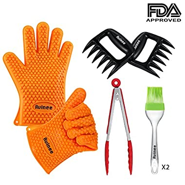 Avinee Kitchen Tool 4 Set-Heat Resistant Silicone BBQ Grill Oven Gloves for Cooking, Grilling Barbecue, Baking,includes with Silicone Tongs-Meat Claws-Silicone Brush