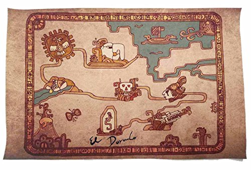 The Road To El Dorado Costumes - El Dorado Road to Map - Antique Cloth Scroll