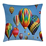 Ambesonne Colorful Home Decor Throw Pillow Cushion Cover, Nostalgic Hot Air Balloons in Sky Flying Journey Fun Adventure Hobby Theme, Decorative Square Accent Pillow Case, 18 X 18 Inches, Blue
