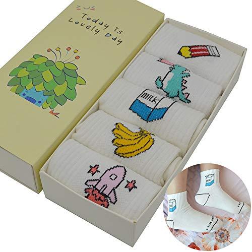 LILIKI@ 5 Par/Set Blanco Harajuku Kawaii Calcetines De Las Mujeres De Algodón Lindo De Dibujos Animados Moda Chicas Letra Corta Calcetines Divertidos con ...