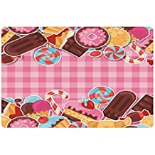 Ambesonne Ice Cream Pet Mat for Food and Water, Candy Cookie Sugar Lollipop Cake Ice Cream Girls Design, Rectangle Non-Slip Rubber Mat for Dogs and Cats, Baby Pink Chestnut Brown Caramel