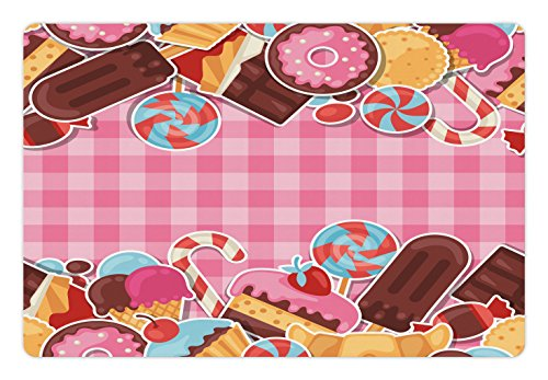 Ambesonne Ice Cream Pet Mat for Food and Water, Candy Cookie