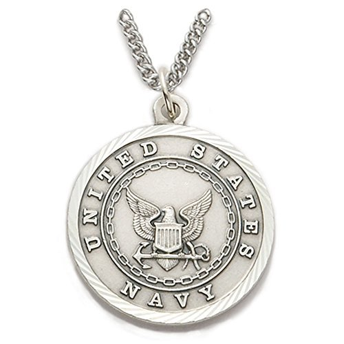 - TrueFaithJewelry Sterling Silver United States Navy Medal with Saint Michael Back, 1 Inch