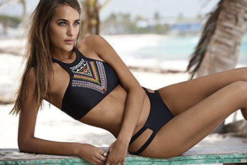 Minetom Mujer Traje De Baño Push Up Bañador Bikinis Beachwear Playa Natación Del Verano Swimwear Atractivo Criss Cross Tribal Geométrico Impreso Negro2