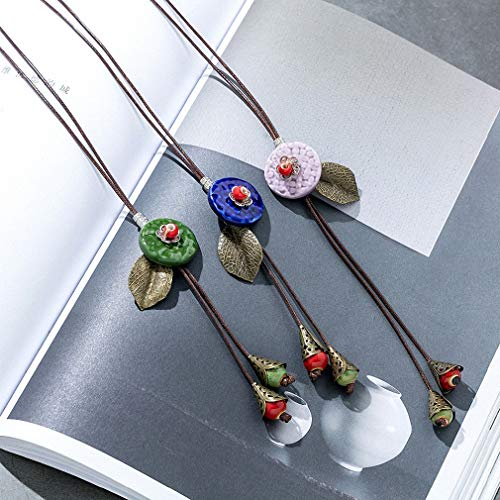 Womens Pendant Necklace New Long Necklace Women Jewelry with Vintage Leaf Ceramics Bead Pendant Collares Mujer Choker Kolye Bijoux Femme