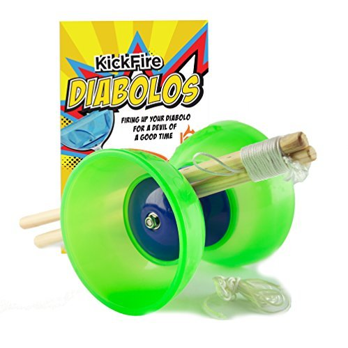 KickFire Diabolos® Green Comet Chinese YoYo Diabolo Set with Wooden Sticks and String by KickFire Diabolos