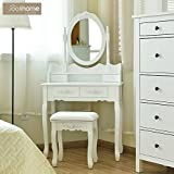 Vanity Table Set 4 Drawers Wooden Dressing Table Mirror Stool Bedroom White