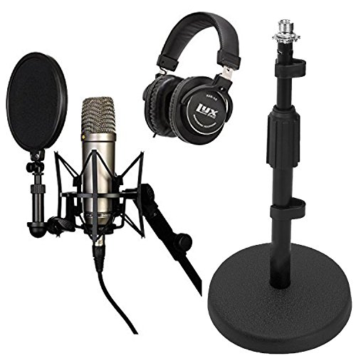 Microphone Recording Package: Rode NT1-A Cardioid Condenser Microphone, Pop Shield, Shockmount, 20' Cable with LyxPro Studio Headphone and Desktop Microphone Stand - Black