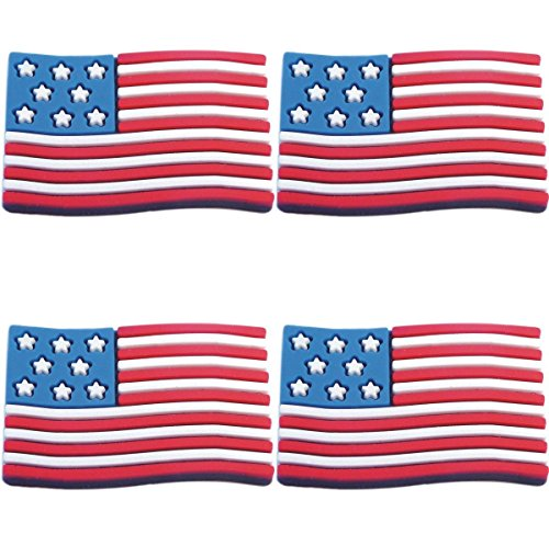 (Four (4) of USA American Flag Rubber Charms for Wristbands and)
