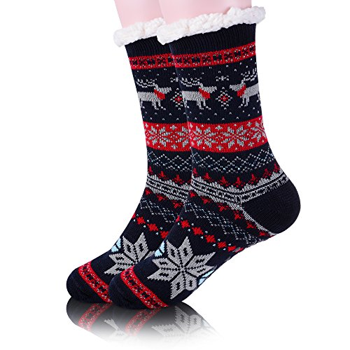 Womens Fleece Christmas Fuzzy Thick Warm Winter Slipper Socks Snowflake Deer(Blue And Red)