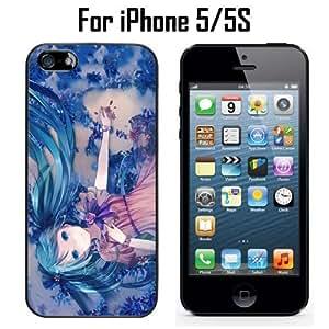 Cute Anime Blue Miku Custom Case/ Cover/Skin *NEW* Case for Apple iPhone 5/5S - Black - Hard Case (Ships from CA) Custom Protective Case , Design Case-ATT Verizon T-mobile Sprint ,Friendly Packaging - Slim Case