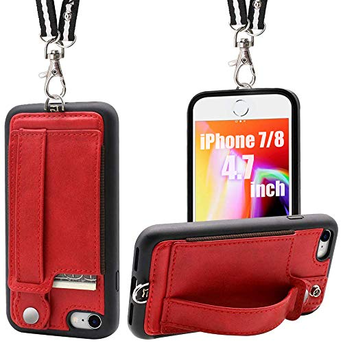 TOOVREN iPhone 7/8 Wallet Case Lanyard Neck Strap iPhone 7/8 TPU Protective Purse Case Cover with Kickstand Leather PU Card Holder Adjustable Detachable Necklace for Anti-Lost and Outdoors Red