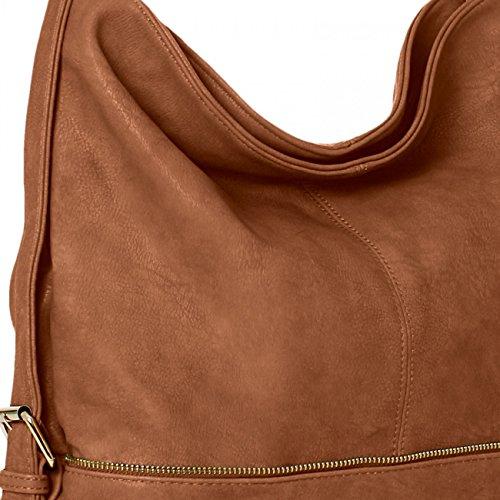 CASPAR TS732 Bolso de Bandolera Grande para Mujer Bolso de Hombro Coñac