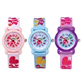 CdyBox Silicone Watch 3D Cartoon Design Children Girls Kids Digital Sport Watches Dial Colorful Watchband (3 Pack)