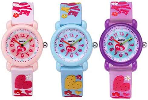 CdyBox Silicone Watch 3D Cartoon Design Children Girls Kids Digital Sport Watches Dial Colorful Watchband (3 Pack)
