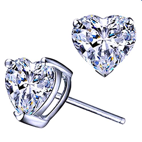 Poonsuk@lucky White Gold Plated Swarovski Crystal Elements Cubic Ziconia Heart Solitaire Earrings on Sale!!!!!! (White) (Crystal Swarovski Heart Solitaire)
