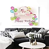 """Kids Birthday Wall Art Canvas Prints Baby Girl Birthday with Teddy Bears Toys Balloons Surprise Boxes Dolls Image Ready to Hang for Home Decorations Wall Decor 36""""x24"""" Pale Pink"""