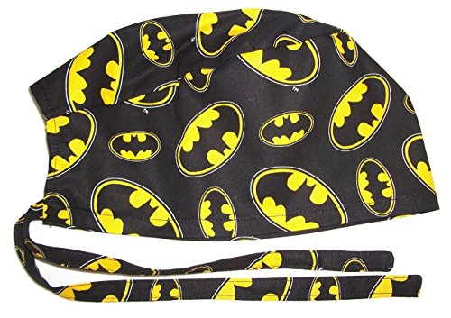 Surgical Scrub Hat Made with Batman Symbols Black Cotton Fabric Nurse Cap Tie Back Doctor ER Chemo Surgery Skull Handmade in the -