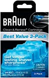 Braun Series 3 Cartridge - Braun Clean & Renew Refills 3-pack,170ml(5.7 Fl Oz)each-Total 510ml(17.1 Fl Oz)