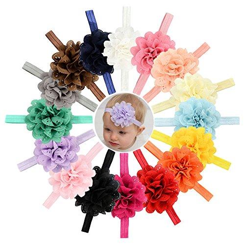 Baby Girls Big Headbands Chiffon Hair Bows Lace Band for Newborns Infants 16 or 12 PCS (579-16PCS)