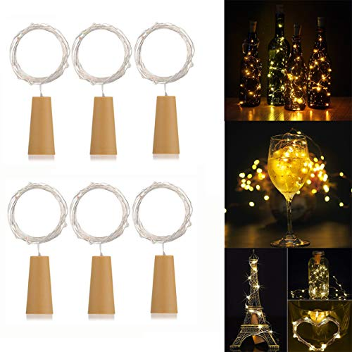 AlleTechPlus 6 Pack 20-LEDs Spark Wine Bottle Light, Cork Shape Battery Copper Wire String Lights for Bottle DIY, Christmas, Wedding and Party D