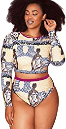 Women Plus Size Swimsuit Push up Bikini Long Sleeve Swimwear Bathing Monokini Suit 2 Pcs