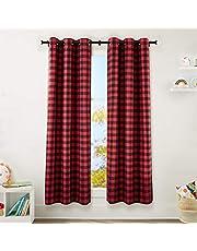 "Amazon Basics Kids 100% Blackout Window Curtain Set with Grommets - (2) 42"" x 84"", Red Buffalo Plaid"