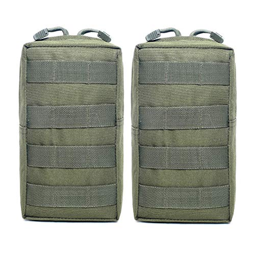 QZNINC 2 Pack Molle Pouches - Tactical Compact Water-Resistant EDC Utility Pouch (2 Pack-Army Green)