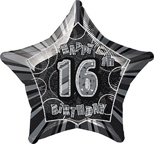 Star Foil Balloon - 16th Black/silver (Star 20 Inch Foil Balloon)