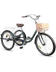 Viribus Driewieler voor volwassenen, 26 inch, fiets met mand, 3 wielen, voor volwassenen, tricycle, 3-wielige montage nodig (groen)