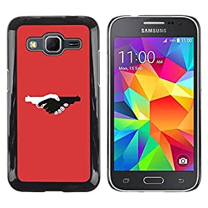Be Good Phone Accessory // Dura Cáscara cubierta Protectora Caso Carcasa Funda de Protección para Samsung Galaxy Core Prime SM-G360 // Guns Violence Deep Red Design Pistol