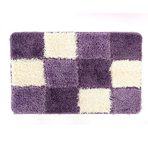 uxcell Non-Slip Soft Rugs Microfiber Absorbent Decorative Bath Mats Purple 32 x 20 x 1.18 Inch
