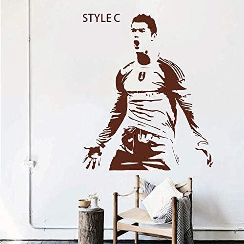 mlpnko Jugador de fútbol de Vinilo Etiqueta de la Pared para Sala de Estar Cartel murales para Dormitorio protección del Medio Ambiente pvc58x70 cm