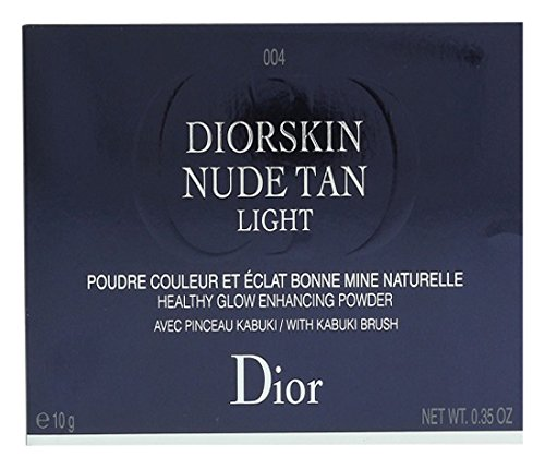 Christian Dior Diorskin Nude Tan Healthy Glow Powder with Kabuki Brush 004 Sunset for Women, 0.35 Ounce