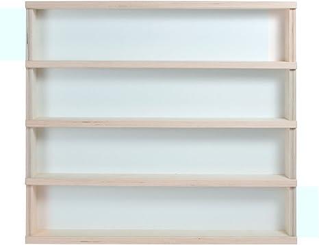 V33 - Vitrina de pared 50 x 55 x 6 cm armario estantería de madera natural para colecciones de trenes, motos, coches, pequeños objetos, etc.