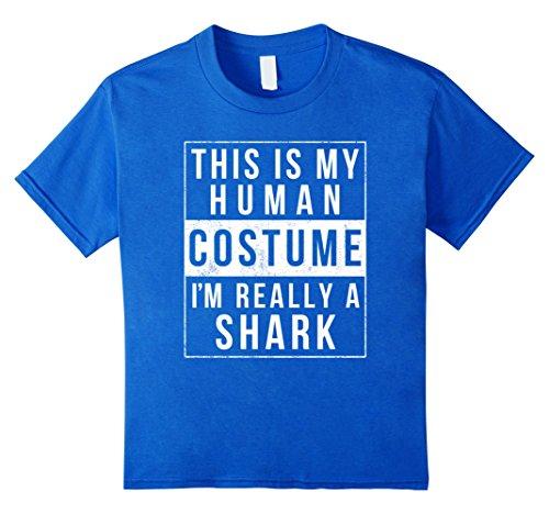 Cheap College Kid Halloween Costumes (Kids Shark Halloween Costume Shirt Funny Easy for Kids Men Women 4 Royal Blue)