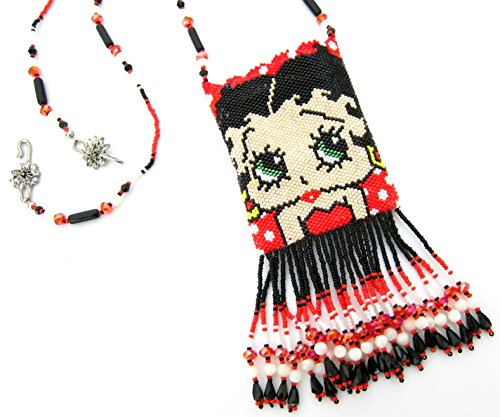Betty Boop & Pudgy Beaded Amulet Necklace, Double Sided