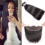 8A Brazilian Straight Hair Lace Frontal Closure with Bundles Straight Virgin Hair with Frontal Straight Hair Bundles with Frontal Closure (20 20 20+18 frontal, Natural Color)