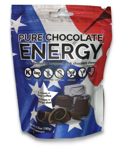 Chocolate Kosher Tea - Pure Chocolate Energy Chews. All Natural Dark Chocolate with Caffeine, Vitamin B12, Green Tea, Kosher, Vegan, Non-GMO, Gluten Free, Dairy Free, Soy Free, Made in USA (30 Count)