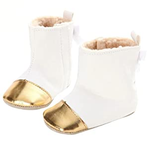 DEESEE(TM) Baby shoes Toddler Infant Girl Snow Boots Soft Sole prewalker Crib Shoes Feature: (0~6 Month, White)
