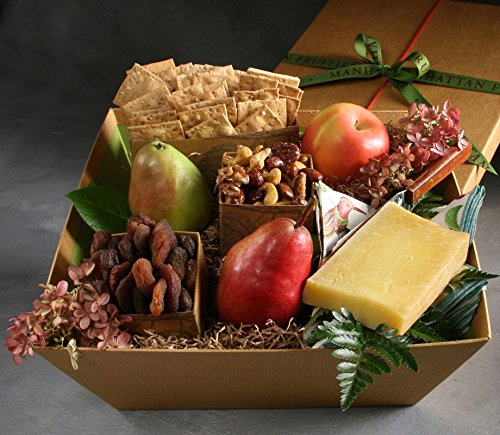 All Organic Cheese Gift Basket Made to Order with Organic Tarentaise Cheese, 3 Pieces of Seasonal Organic Fresh Fruit, Organic Crackers, Organic Dried Fruit & Nuts, and a Cheese Knife
